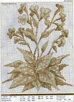 Cross stitch - flowers: christmas cowslip in sepia (chart)