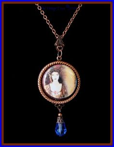 Antiqued Copper 1920's Woman Photo Cameo Pendant Necklace | TheVintageDiva - Jewelry on ArtFire