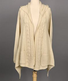 ec502b8313 Another great find on  zulily! Natural Corin Cable-Knit Open Cardigan -  Women