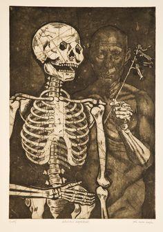 """Skeleton Self Portrait."" Etching, 18 x 12 in. Graphic Artwork, Artwork, Humanoid Sketch, Etching"