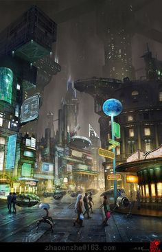"""Science Fiction World — """"Street"""" by Enzhe Zhao."""