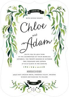 Lavish Laurel - Signature White Wedding Invitations in Spruce Green | Whitney Port