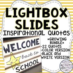 Lightbox Slides Inspirational Quotes for your Heidi Swapp Lightbox. Sku: This is a growing Bundle so more quotes will be added! New Classroom, Classroom Design, Classroom Organization, Classroom Decor, Math Teacher, Teacher Resources, Light Board, Light Quotes, Boxing Quotes