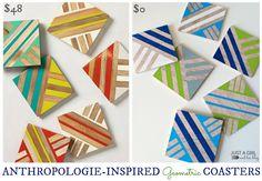 Anthropologie-Inspired Geometric Coasters at JustAGirlAndHerBlog.com