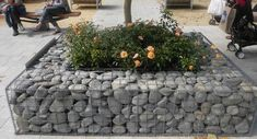 gabion stone garden planter idea