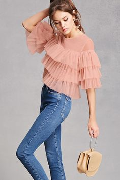 Womens Fashion - A sheer mesh top featuring a tiered ruffle design, round neck, short sleeves, a boxy silhouette, and a buttoned keyhole back. Girls Fashion Clothes, Teen Fashion Outfits, Chic Outfits, Trendy Fashion, Girl Fashion, Fashion Dresses, Womens Fashion, Traje Casual, Mode Ootd