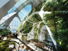 Bionic-Arch's interior - Green Skyscraper by Vincent Callebaut, Taichung, Taiwan