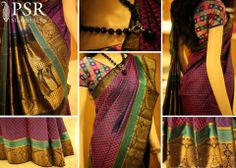 Beautifully hued Kanjivaram sari exudes that undeniably warm and passionate mood. Sari with double layer of border one The golden zari annapakshi (beautiful ,plumes of a peacock and shape of swan) and above that its forms the abstract zig zag motifs and all over paisley design motif in magenta combination with navy blue background adorn the Sari.  https://www.facebook.com/psrsilkindia    #saree #silk  #designer #indian #fashion #bridal #wedding #women #traditional #new