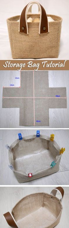 Storage Fabric Burlap Box Pattern and Tutorial. Bag Step by step photo tutorial. http://www.handmadiya.com/2016/05/storage-fabric-box-tutorial.html