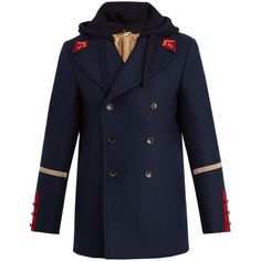Gucci Caban detachable-hood wool coat ($2,880) ❤ liked on Polyvore featuring men's fashion, men's clothing, men's outerwear, men's coats, mens wool pea coat, mens red coat, mens slim fit wool coat, mens navy coat and mens red pea coat