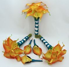 Wedding Flower Package Flame Orange Real Touch Calla Lily Bridesmaids Bouquets Groomsmen Boutonnieres Teal Ribbon Choose Your Colors.