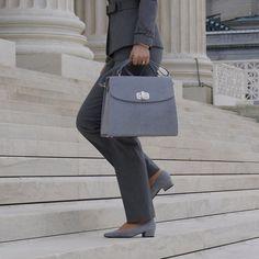 """Gray """"Washington"""" Large Suede Leather Handbag"""