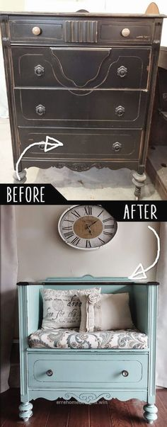 Nice DIY Furniture Hacks | Unused Old Dresser Turned Bench | Cool Ideas for Creative Do It Yourself Furniture | Cheap Home Decor Ideas for Bedroom, Bathroom, Living Room,  ..