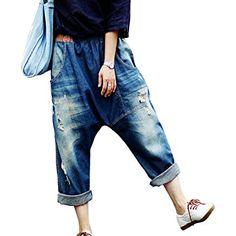 Aeneontrue Women's Casual Drop Crotch Ripped Harem Jeans Denim Pants Trousers