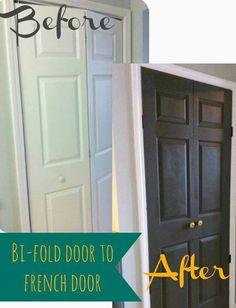 Great idea turn old sliding doors into french doors!
