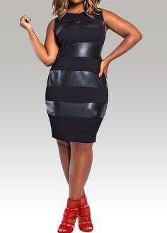 Sleeveless Round Neck Plus Size Dress