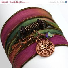 ON SALE Hand Dyed Silk Wrap Bracelet  Dragon's by anjalicreations, $27.20