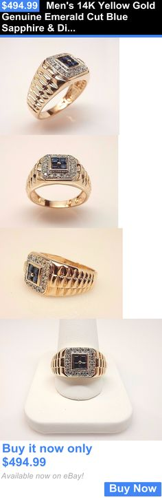 Men Jewelry: Mens 14K Yellow Gold Genuine Emerald Cut Blue Sapphire And Diamond Ring Size 10 BUY IT NOW ONLY: $494.99