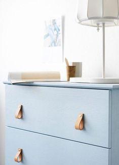 DIY – Ikea Dresser Hack - Powder Blue Dresser with Leather Pulls Retro Furniture, Ikea Furniture, Furniture Makeover, Furniture Design, Furniture Market, Trunk Makeover, Dresser Makeovers, Simple Furniture, Furniture Websites