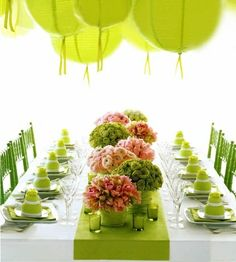 A green wedding table set. Simple, but amazing!