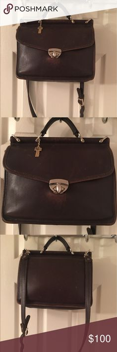 🛍 Jack George's Brown Vintage Leather Satchel Bag Bag is vintage and has some scuffing.  No holes or rips.  Just normal vintage scuffing and wear.  Medium sized. Jack Georges Bags Satchels