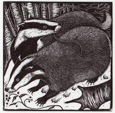Rosamund Fowler. Badgers. (wood engraving)