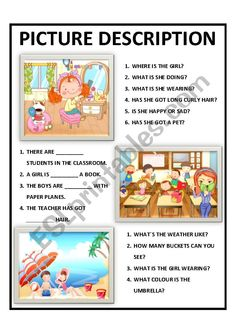 Three cute pictures for your students to answer, complete or describe! English Grammar For Kids, Learning English For Kids, Teaching English Grammar, English Worksheets For Kids, English Lessons For Kids, English Fun, English Activities, English Course, Learn English