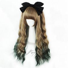 Suuny Queen Quality Thick Kinky curly Ombre Brown to Green The Little Mermaid Princess Ariel Wig Tanaka Rie Cosplay Synthetic Long Wavy Ombre Anime Hair Wigs >>> To view further for this item, visit the image link.