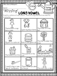 Download free printables at preview. 'Missing' Long Vowel- CVCe. Spring Math and Literacy No Prep - Kindergarten An excellent pack with a lot of sight word, short vowel, long vowel, spelling, vocabulary, word work, reading, fluency and other literacy activities and practice