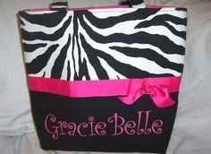 #JB Black Zebra with Hot Pink Ribbon Personalized Diaper Bag by PoshBabyStore.com