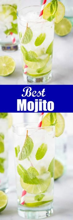 The Best Mojito Drink Recipe- A simple and refreshing drink with just 5 simple ingredients; lime juice white rum sugar club soda and mint. It just might be the perfect rum cocktail! Refreshing Drinks, Fun Drinks, Yummy Drinks, Alcoholic Drinks, Beverages, Fruity Drinks, Frozen Drinks, Summer Cocktails, Cocktail Drinks
