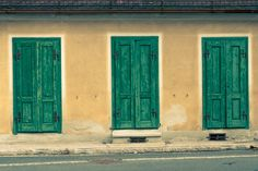 Vintage facade / green wooden doors by ChristianThür Photography on Creative Market Garage Doors, Creative, Outdoor Decor, Painting, Vintage, Furniture, Home Decor, Art, Craft Art