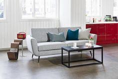 Moderni retrosohva. Retrohenkinen Furninovan sohva sekä kangas- että nahkaverhoilulla. Useita eri kokovaihtoehtoja.