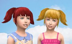 Mod The Sims: High Pigtails for girls by Kiara24 • Sims 4 Downloads