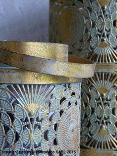 Lanterne Okaïdo PM métal or, déco ethnique chic, Pomax
