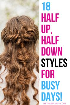 Looking for quick half up, half down hairstyles for busy mornings? Here are 18 video tutorials to inspire your next half up style. Sleep Hairstyles, Quick Hairstyles, Hairstyles For School, Down Hairstyles, Prom Hairstyles, Growing Out Fringe, Curly Hair Styles, Natural Hair Styles, Half Up Half Down Hair