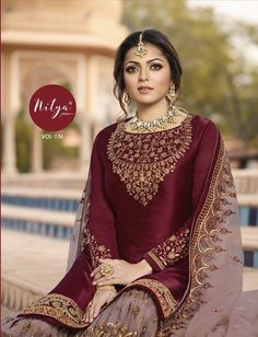 Buy Burgundy Red Georgette Sharara Suit - Salwar Kameez for Women from Andaaz Fashion at Best Prices. Style ID: Pakistani Gharara, Pakistani Dresses, Indian Dresses, Indian Outfits, Pakistani Bridal, Indian Bridal, Sharara Suit, Salwar Kameez, Anarkali Suits