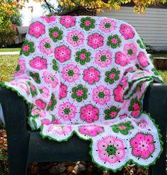 Freestyle Crochet African Flower Blanket Pattern - Crochet Craft, Crochet Blanket, Autumn Photography