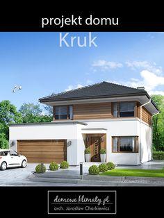 Nowoczesna, przyjemna dla oka bryła domu kryje w sobie bardzo ciekawe, praktyczne i pojemne wnętrze. Sporo różnych wnęk zapewnia wystarczająco dużo miejsca na szafy i schowki. Wnętrze jest też znakomicie oświetlone - zapewniają to narożne okna w większości pomieszczeń. Door Design, House Design, House Elevation, Love Home, Design Case, Home Projects, Custom Homes, Bungalow, My House