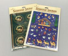2 Vintage Hallmark Seasonal Stickers Christmas Nativity & Goose Wreaths 1980s #Hallmark