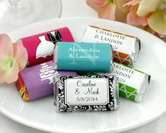 Mini chocolate bar favors can be created in a variety of designs.  See more chocolate bar wedding favors and party ideas at www.one-stop-party-ideas.com