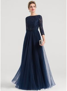 [ A-Line/Princess Scoop Neck Floor-Length Tulle Evening Dress With Beading A-Line / Princess Scoop Neck Floor-Length Beading Zipper Up Sleeves Sleeves Dark Navy Winter Spring Summer Fall General Plus Tulle Height: Bust: Waist: Hips: Evening Dress Hijab Dress Party, Hijab Evening Dress, Chiffon Evening Dresses, Cheap Evening Dresses, Elegant Dresses, Beautiful Dresses, Evening Gowns With Sleeves, Party Dresses, Prom Dress