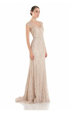 Theia 881881, lace champagne evening dress Image