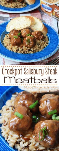 Crockpot Salisbury Steak Meatballs - the perfect weeknight meal! Fresh seasoned ground beef meatballs, slow cooked in a beef gravy, and served over brown and wild rice! @minutericeus RiceMonthWithMinute AD