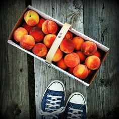 box of summery deliciousness | Flickr - Photo Sharing!  peaches + sneakers.