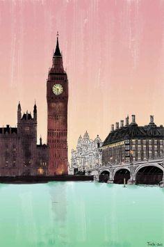 London view , Ilustration, Art, Big Ben, City