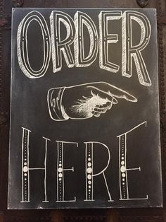 Olivia & Ink specializes in vintage cafe chalkboard styled hand lettering.  This 'Order Here' sign was created for West Farm Cafe located in the quaint town of Summerville.   Commission pieces can be done for weddings, restaurants, cafes and of course, the home! www.facebook.com/oliviaandinkk