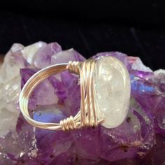 Quartz Crystal Ring  Big! Awesome Quartz Crystal Ring!  Hand WireWrapped with Sterling Silver Plated Wire. Size 8 DesignsByKaren Jewelry Rings