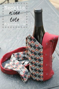 Super cute and amazingly creative Necktie Wine Tote made from 2 mens neckties.