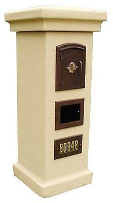 QualArc MAN-S-1401BL Manchester with Security Chute Column Mount Mailbox with Decorative Scroll Door in Black by QualArc. $619.00. From the Manufacturer                The Manchester with Security Chute features a cast aluminum powder coated faceplate and locking chute to mount into a column.   Mail drops down a snorkel chute to a locking area at the bottom for easy access to mail and it also includes an outgoing mail slot. This mailbox keeps mail out of reach...